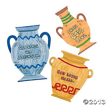 "Do It Yourself Greek Pottery Cutouts. Tons of fun for kids who ""urn"" to be creative! Choose these Do It Yourself Greek Pottery Cutouts for craft time at your VBS. Color, paint and embellish with your own adhesive jewels, glitter and more. Paper. Approx. 9"" x 11"". © OTC $6 per dozen"