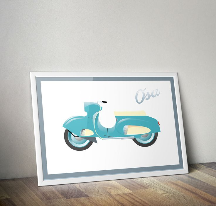 Scooter OSA poster, blue, printable poster, digital image, boy room decor, planner clipart, garage decor, vehicle clipart, transport clipart by DigiFrog on Etsy