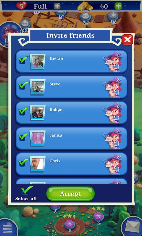 Bubble Witch 2 by King - Invite Friends Social Screen - Match 3 Game - iOS Game - Android Game - UI - Game Interface - Game HUD - Game Art