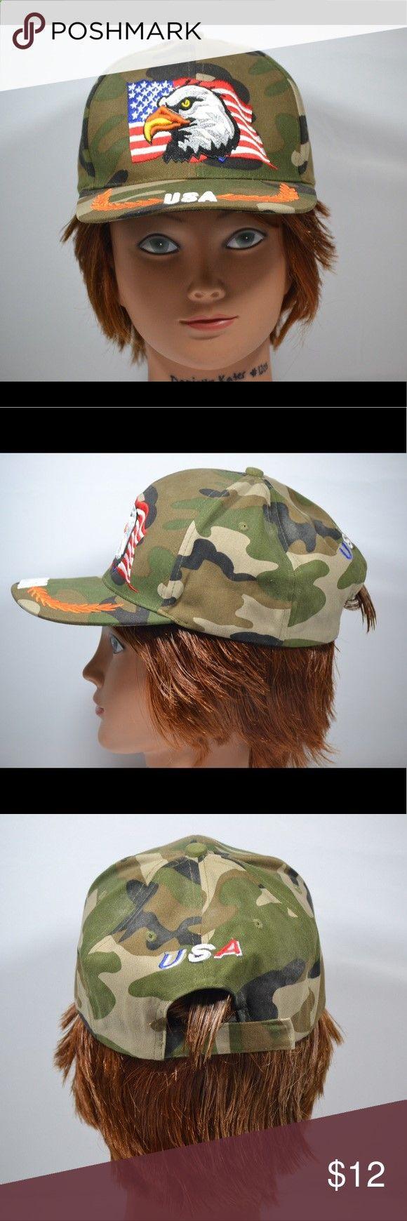 VTG USA Camo Bald Eagle Velcro Strapback Cap VTG USA Camo Bald Eagle Velcro Strapback Cap Accessories Hats
