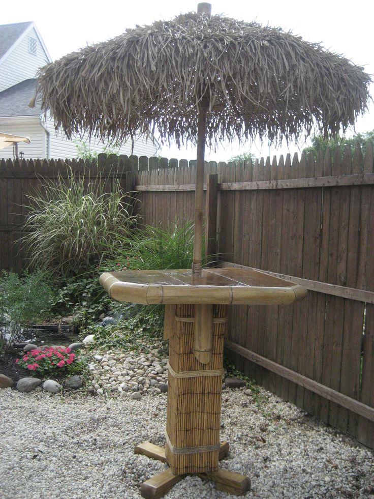 Pub table with thatch umbrella back yard pinterest for Arredamento tiki