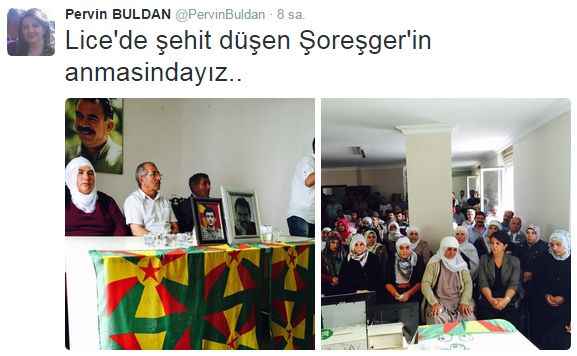 Buldandan PKKlı Aileye Taziye!  DP Milletvekili Pervin Buldan Diyarbakırda öldürülen PKKlının ailesine taziye ziyaretinde bulundu.  HDP Milletvekili Pervin Buldan Diyarbakırda güvenlik güçlerine yönelik saldırıda öldürülen teröristin ailesine başsağlığı diledi. Twitter adresinden ziyarete ilişkin bir de fotoğraf paylaşan Buldan öldürülen PKKlı işin şehit ifadesinde bulundu.  HDPli milletvekillerinin teröristlerin ailelerine yönelik başlattığı başsağlığı ziyaretleri sürüyor. Diyarbakırda…