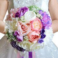 2016 Decoración de arena rosada de la alta calidad de la vendimia de boda púrpura de la dama de honor de flores de seda artificial Rose WF050 Top novia de la boda del ramo