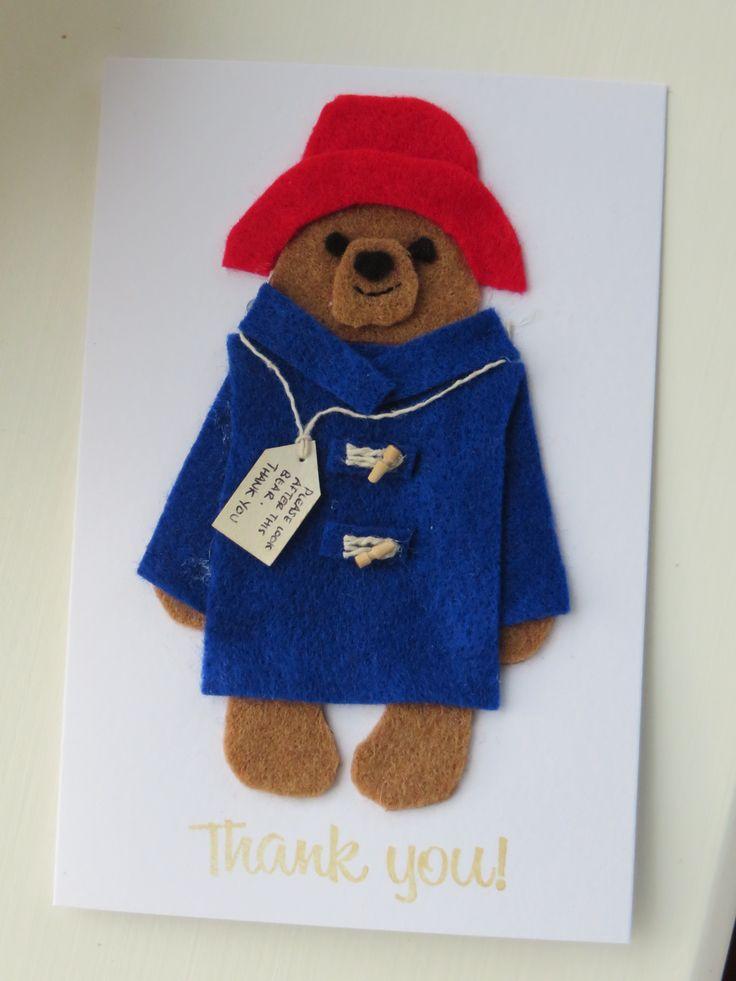 PADDINGTON BEAR felt thank-you card idea - with the ends of cocktail sticks for toggles!