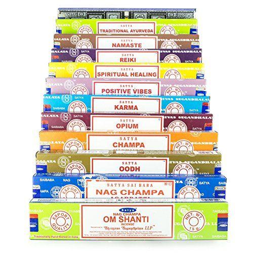 Satya Nag Champa Om Shanti Variety Set B 12x15gram Includes: Nag Champa Super Hit Om Shanti Oodh Positive Vibes Namaste Champa Opium Reiki Spiritual Healing Karma Traditional Ayurveda