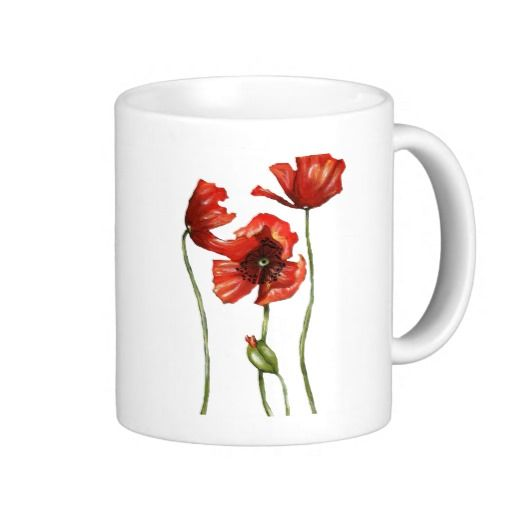 Red Poppies Floral Design Mugs