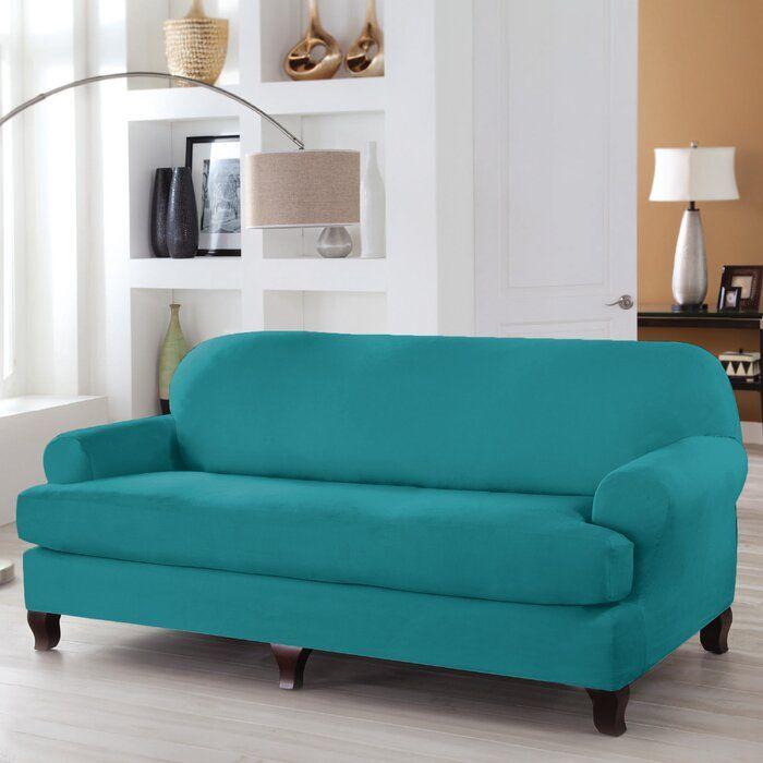 T Cushion Sofa Slipcover, Aqua Sofa Slipcover