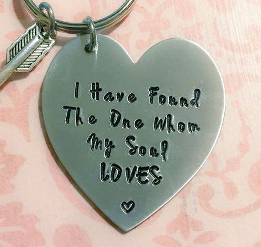 Couples Jewelry - Key Chain - I Have Found The One Whom My Soul Loves - Christmas Gift for Couples by CharmedJewelryByCDay on Etsy