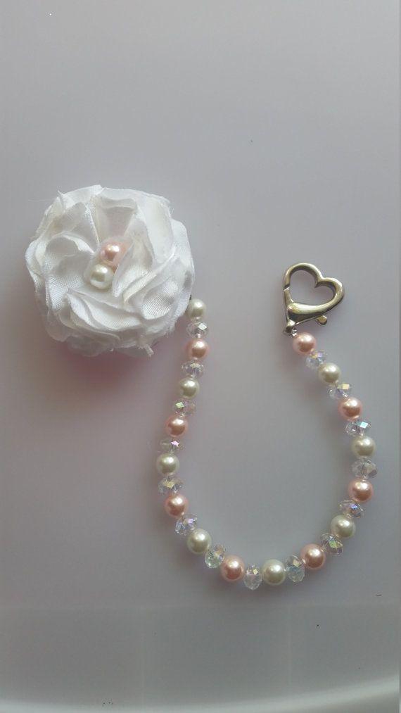 Pinza de chupete perlas perla por LittleSophieBoutique en Etsy
