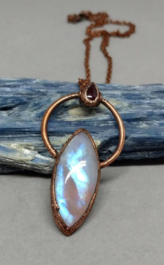 Moonstone Pendant Copper Electroformed by PowerstoneJewelry1