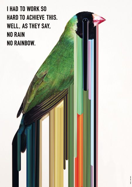 『JAGDA新人賞2014』受賞者 原野賢太郎作品 劇団の公演ポスター『レインボーレイン 「小鳥たちの贈り物」』