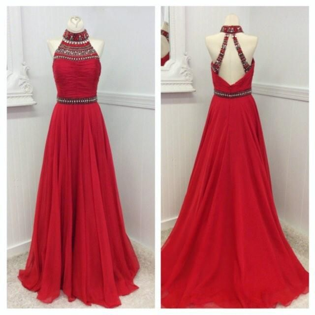 Best Prom Dress 2016 Halter Neck Prom Dresses Real Photos Beaded Pleated Red Chiffon A Line Prom Gowns With Open Back And Sweep Train Custom Made Prom Dresses Toronto From Nicedressonline, $150.42| Dhgate.Com