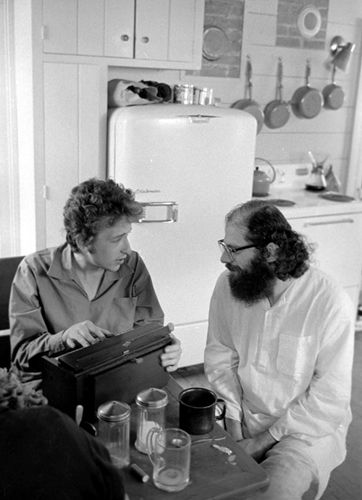 Bob Dylan talks with Allen Ginsberg at his Woodstock home in 1964.