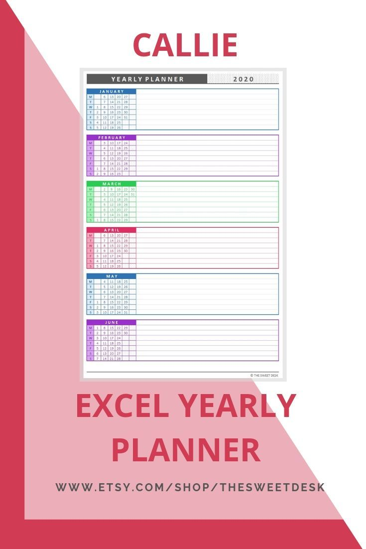 Editable 2020 Excel Yearly Planner Template Printable Future Log