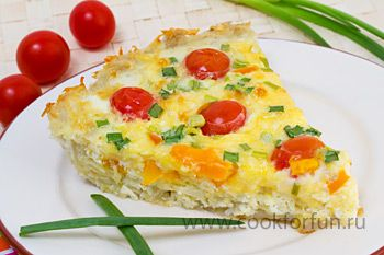 Картофельный киш с овощами - из сырого картофеля!!!  Вот то, что вам понадобится: 800 гр. картофеля 5 яиц 1/2 ст. молока 200 гр. сыра 1 болгарский перец 9-12 помидоров черри щепотка соли растительное масло зеленый лук