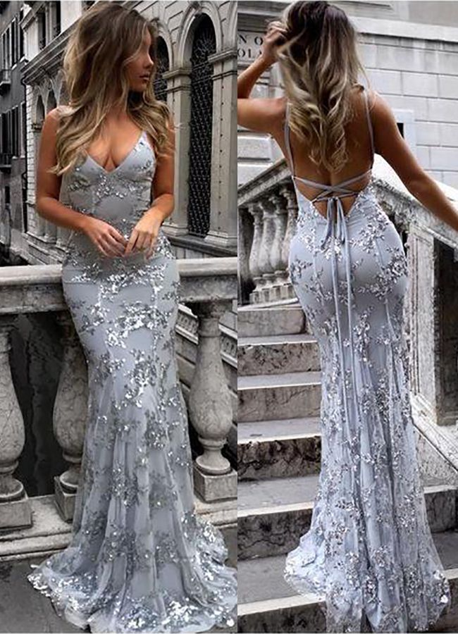 14dd36b0718 Mermaid Grey Long Prom Dress with Silver Sequins from wendyhouse