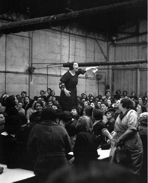 Willy Ronis. Rose Zehner Leading Striking Citroën Workers, Paris     1938
