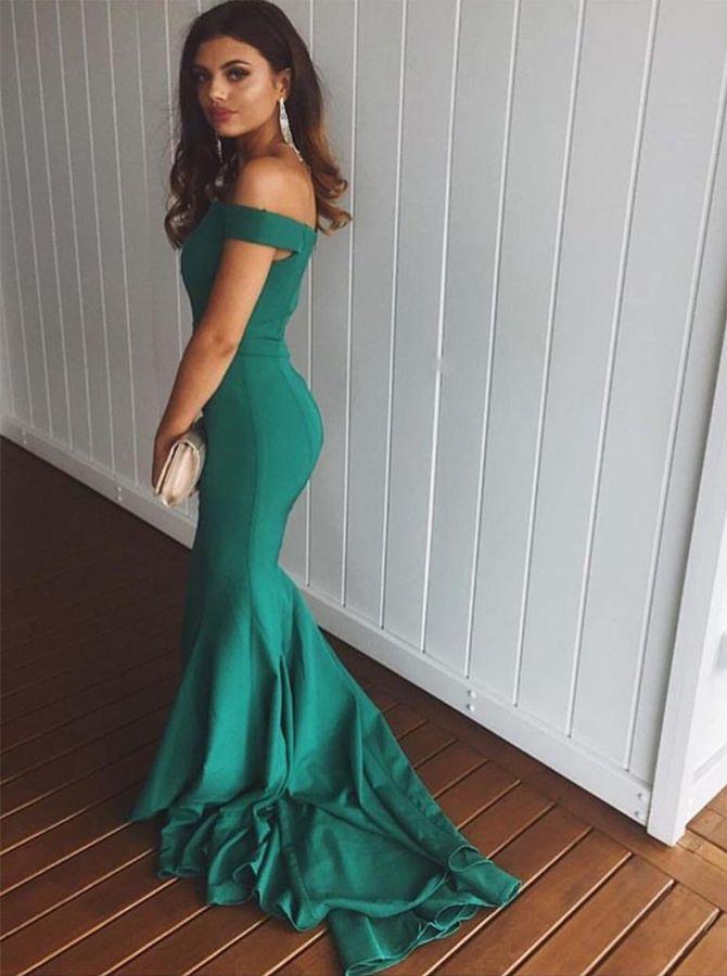Mermaid Off-the-Shoulder Sweep Train Green Sleeveless Satin Prom Dres