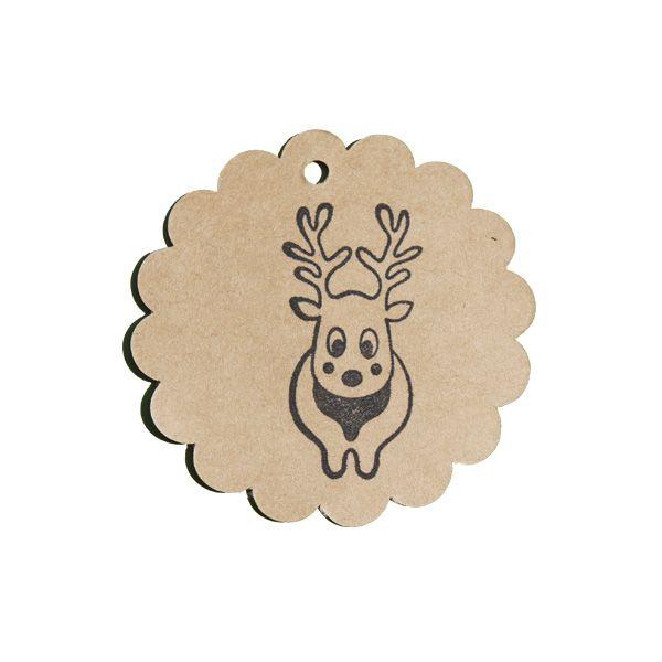 Tampon en bois renne naïf parfait pour Noël et les fêtes de fin d'année sur son étiquette kraft rosace