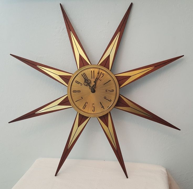 atomic starburst 8 point mcm wood and metal wall clock 25 on wall clocks battery operated id=88824