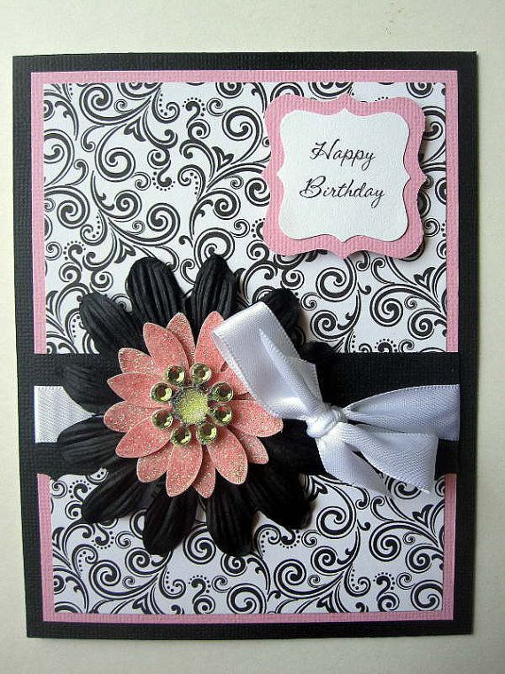 Handmade Birthday Card For Female Fabulous Pink Black And White Can