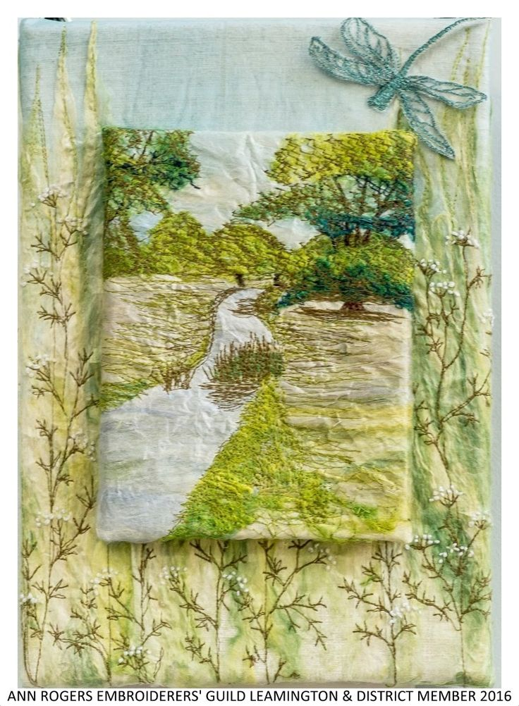 """""""Does this display Capabilities?"""" by Ann Rogers member of Embroiderers' Guild Leamington & District branch. Displayed as part of the """"Landscapes of Capability Brown"""" exhibition at Charlecote Park 17 March - 30 October 2016 showing work based on the beautiful landscape and grounds. Exhibition held as part of the UK's Capability Brown Festival"""