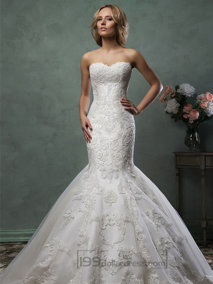 Scallop Sweetheart Neckline Lace Embroidery Stunning Trumpet Mermaid Wedding Dress