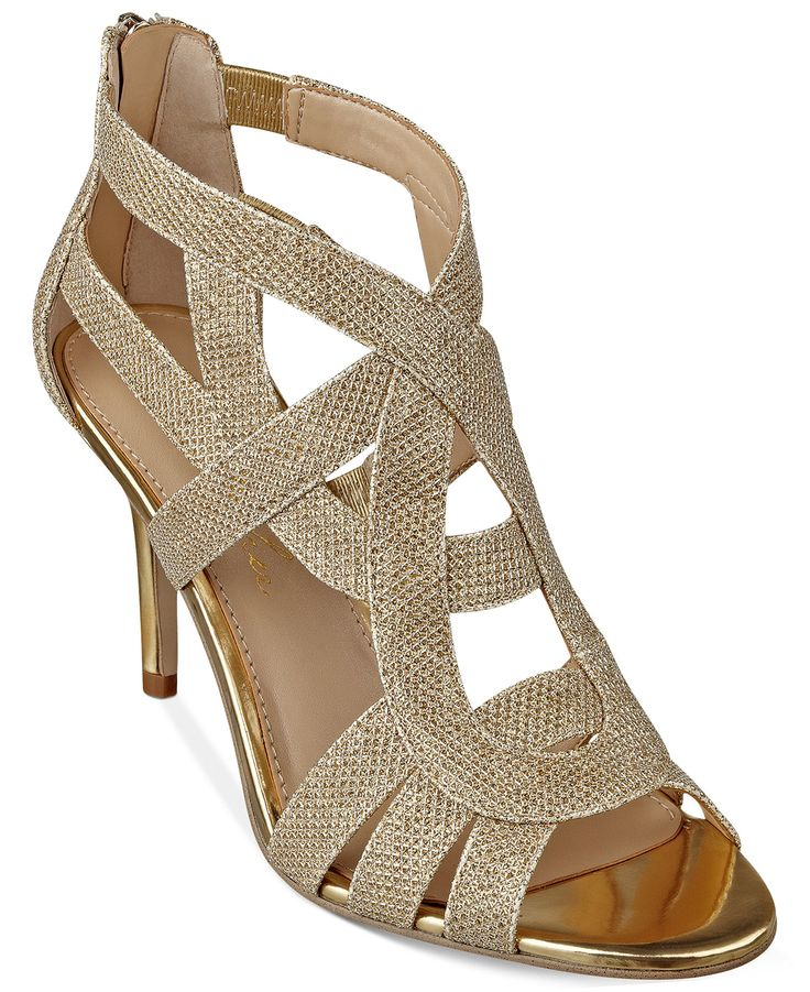 """You'll love the crisscrossing straps of the Nala3 mid-heel evening sandals. By Marc Fisher. 