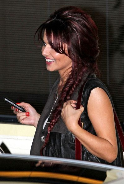 Hair Lookbook: Cheryl Cole wearing Long Braided Hairstyle (2 of 7). Cheryl Cole sported a fresh hairstyle complete with red hair-dye and a fish-bone braid.