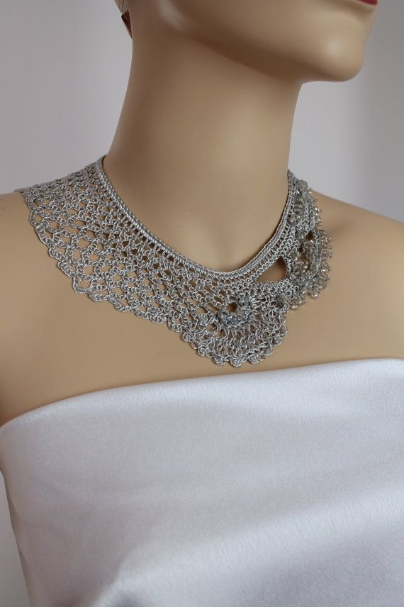 Light Grey Silk Crochet Necklace  Wedding Jewelry  by lucylev, $40.00