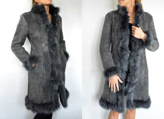 Gray long Women's Coat made with sheepskin and Fox by lefushop