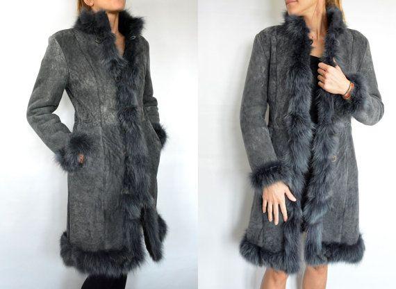 Gray long Women's Coat made with sheepskin and Fox by lefushop