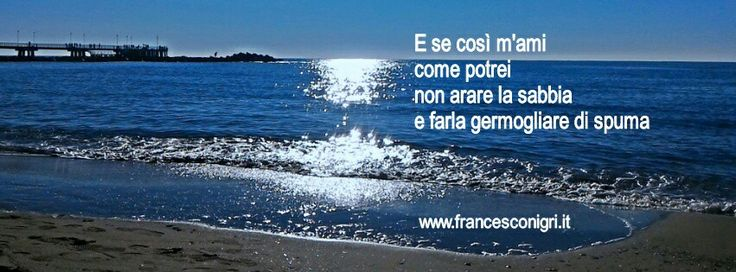E se così m'ami  come potrei  non arare la sabbia  e farla germogliare di spuma   www.francesconigri.it