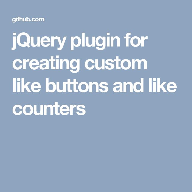 jQuery plugin for creating custom like buttons and like counters