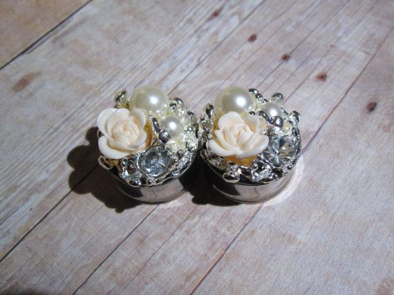 LAST Pair of Large Plugs with Flowers, Rhinestones, and Pearls - Bridal / Formal Plugs - Girly Gauges - 7/8""