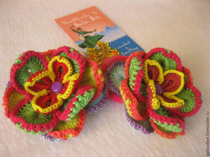 """Купить РЕЗИНОЧКИ вязаные резинки и заколки для волос """"Гавайские цветы mix"""" - разноцветный, резиночки для волос"""