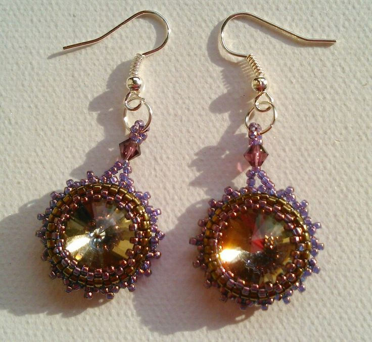 Beaded rivoli earrings