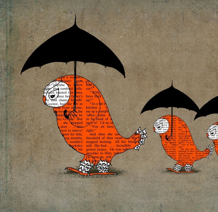 Umbrella illustration, Owl art print, Owl poster art for kids, Handmade poster birds love, Large wall poster 13x19 by OrangeOptimist. $60.00, via Etsy.