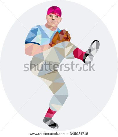 Low polygon style illustration of an american baseball player pitcher outfilelder with leg up getting ready to throw ball set on isolated white background. - stock vector #baseball #lowpolygon #illustration