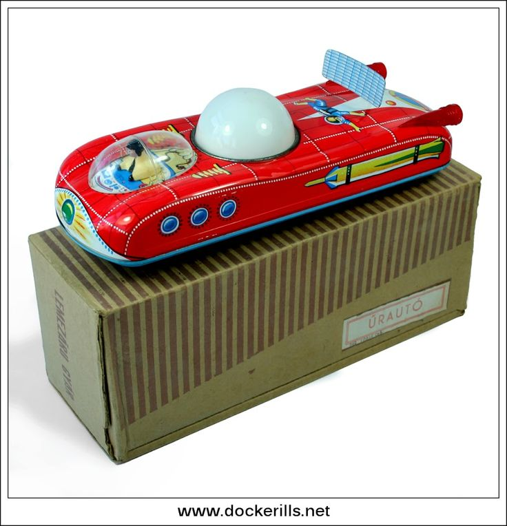 """Lemezarugyar """"Urauto"""", Hungary. (Picture 2 of 2). Vintage Tin Litho Tin Plate Toy. Mystery Action / Battery Operated Mechanism. With moving light in dome. Photo in DOCKERILLS - TIN TOY REFERENCE - EUROPE - Google Photos"""
