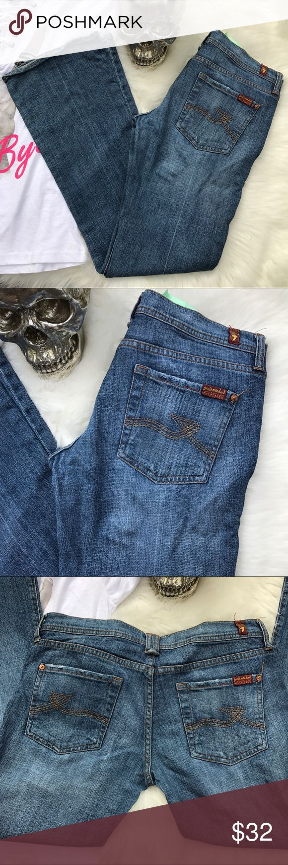 7 for all mankind rocker jeans Great used condition .  7 for all mankind medium light wash distressed rocker jeans .  The perfect every day jeans with your favorite shirt . Preloved no flaws .  Inseam | 31 inches  Rise | 7 1/2 inches   💙 please use the offer button  🛍 BUNDLE FOR 10% OFF •   🚭smoke free  🌟 5 star rating   www.thethugwife.com 💀 @thethugwifeboutique             🚫 🙅🏻 N O   TRADES 🙅🏻 🚫 7 For All Mankind Jeans