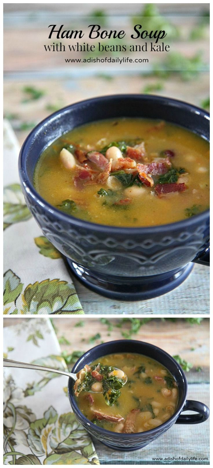 Rich in flavor, this hearty Ham Bone Soup with white beans and kale is a great way to use up a leftover ham bone. And it's the perfect comfort food to warm your bones on a rainy spring day!