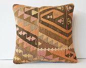 "16"" Primitive decorative pillow cover southwestern decor throw pillow cotton kilim cushion natural pillow traditional pillow chevron zigzag"