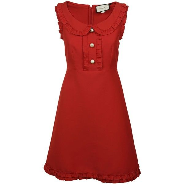Gucci Crepe Dress (27,810 MXN) ❤ liked on Polyvore featuring dresses, red, red dress, round neck dress, flutter-sleeve dress, ruffle dress and flouncy dress