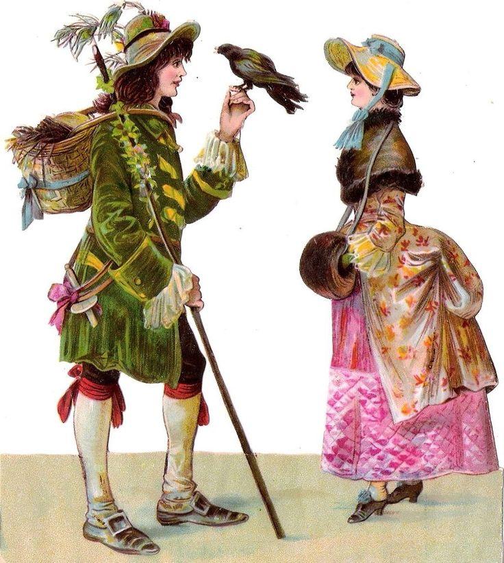 Oblaten Glanzbild scrap diecut chromo Paar couple 15cm Lady Dame femme Falkner: