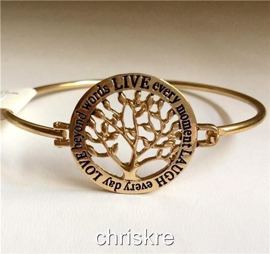 Gold Tree of Life Bracelet Bangle Celtic Live Love Laugh Message USA Seller #Redwood #Bangle