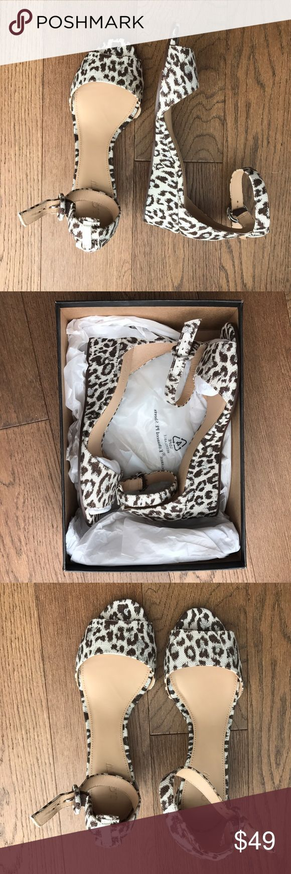 J Crew LEOPARD PRINT WEDGES sandals Ankle Strap Brand new, never worn J crew leopard print sandals set on a low wedge for ideal leg lift and splashed with metallic shimmer. Perfect with white jeans! Comes with original box. J. Crew Shoes Sandals