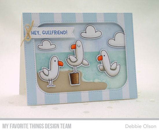 Seaside Seagulls Stamp Set and Die-namics, Inside & Out Stitched Rounded Rectangle STAX Die-namics, Stitched Sentiments Strips Die-namics, Beach Scene Builder Die-namics - Debbie Olson #mftstamps