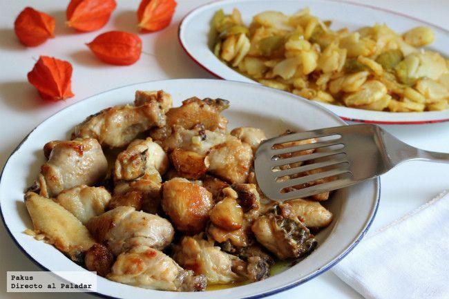 POLLO AL AJILLO TRADICIONAL. Ingredientes: Un pollo de 1.700 gr aproximadamente + 4 dientes de ajo + aceite de oliva + harina + zumo de limón + 1/2 litro de caldo de ave + 1 hoja de laurel + 150 ml de vino de Jerez