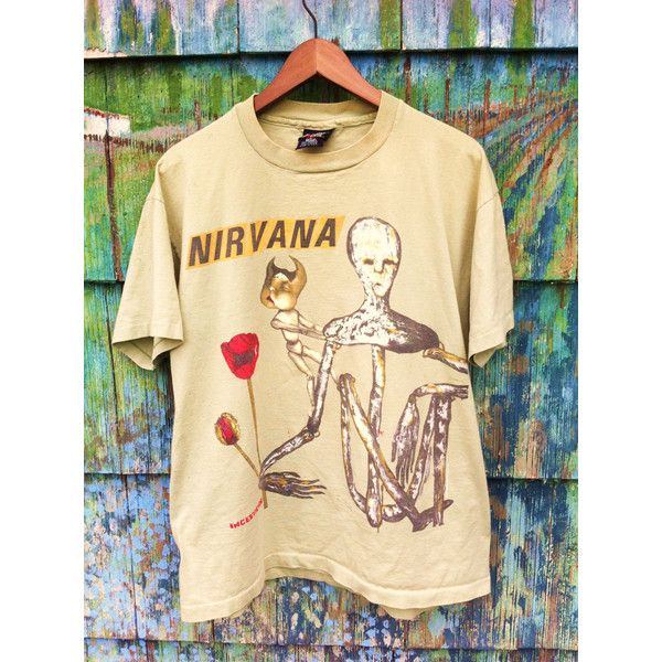 Rare Vintage 90's Original Nirvana Incesticide Tour Shirt Made in the... ($148) ❤ liked on Polyvore featuring tops, t-shirts, band tees, nirvana, fillers, pixies shirt, vintage punk t shirts, vintage tees, cotton shirts and cotton t shirt